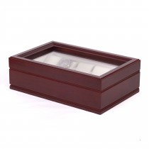 "Ten Watch Glass Top Storage Chest w/ 10 Soft-Suede ""watch pillow"""