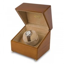 Rapport London Single Watch Winder in Satin Walnut Wood