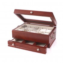 Ten Watch Cherry storage Chest w/ a Jeweler's Drawer & Glass top