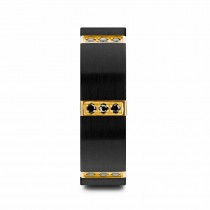 Brushed Gold Plated Bezels & Black Diamond Tungsten Wedding Band (8mm)