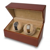 Rapport London Dual Watch Winder in High Gloss Cherry Wood