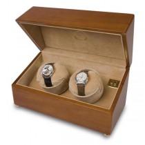 Rapport London Dual Watch Winder in Satin Walnut Wood