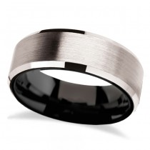 Beveled Edges & Black Interior White Tungsten Wedding Band (8mm)