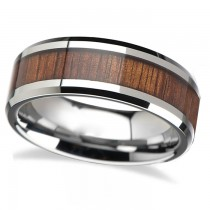 Beveled Inlaid Wood Carbide Tungsten Wedding Band (6mm)