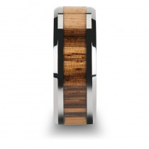 Beveled Edges and Real Zebra Wood Inlay Tungsten Wedding Band (8mm)