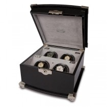 Rapport London Black Wood & Crocodile Leather Quad Watch Winder