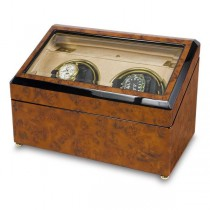 Rapport London Walnut Burr Wood Dual Watch Winder w/ Glass Lid