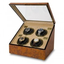 Rapport London Walnut Burr Wood Quad Watch Winder w/ Glass Lid