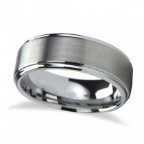 Raised Center Brushed Finish Tungsten Wedding Band (6mm)