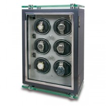 Rapport London Optima Carbon Fiber Six Watch Winder w/ Glass Panels