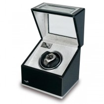 Rapport London Single Watch Winder, Aluminum & Ebony w/ Glass Panels