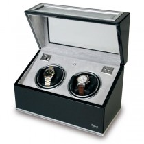 Rapport London Double Watch Winder, Aluminum & Ebony w/ Glass Panels