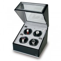 Rapport London Quad Watch Winder, Aluminum & Ebony w/ Glass Panels
