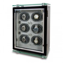 Rapport London Optima Black Six Watch Winder w/ Glass Panels