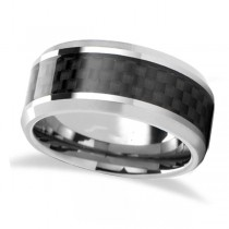 Black Carbon Fiber Inlay Carbide Tungsten Wedding (7mm)