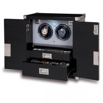Rapport London Mariner's Chest & Double Watch Winder in Ebony Wood
