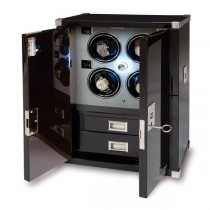 Rapport London Mariner's Chest & Quad Watch Winder in Ebony Wood