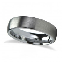 Brushed Finish Rounded Carbide Tungsten Wedding Band (6mm)