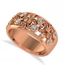 Diamond Fleur De Lis Bezel Ring 14k Rose Gold (0.16ct)