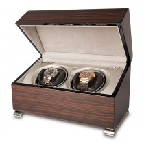 Rapport London Vogue Double Watch Winder Macassar Polished Wood