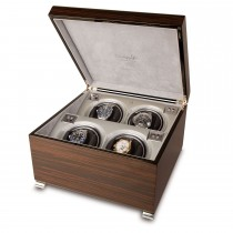 Rapport London Vogue Quad Watch Winder Macassar Polished Wood
