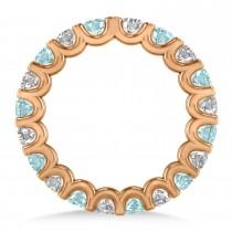 Diamond & Aquamarine Eternity Wedding Band 14k Rose Gold (2.10ct)