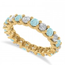 Diamond & Aquamarine Eternity Wedding Band 14k Yellow Gold (2.10ct)