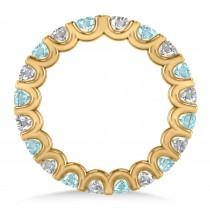 Diamond & Aquamarine Eternity Wedding Band 14k Yellow Gold (2.10ct)
