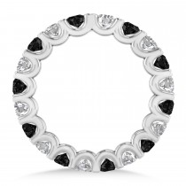 Black & White Diamond Eternity Wedding Band 14k White Gold (2.10ct)
