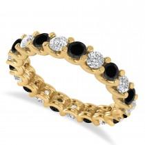 Black & White Diamond Eternity Wedding Band 14k Yellow Gold (2.10ct)