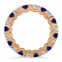Diamond & Blue Sapphire Eternity Wedding Band 14k Rose Gold (2.10ct)