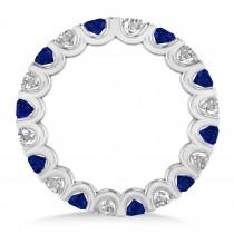 Diamond & Blue Sapphire Eternity Wedding Band 14k White Gold (2.10ct)