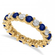 Diamond & Blue Sapphire Eternity Wedding Band 14k Yellow Gold (2.10ct)