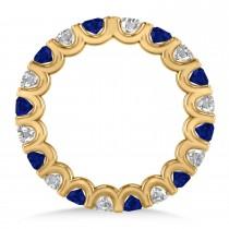 Diamond & Blue Sapphire Eternity Wedding Band 14k Yellow Gold (2.10ct)