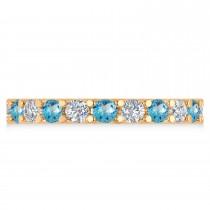 Diamond & Blue Topaz Eternity Wedding Band 14k Rose Gold (2.10ct)