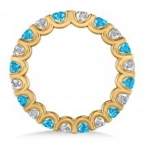 Diamond & Blue Topaz Eternity Wedding Band 14k Yellow Gold (2.10ct)