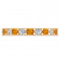 Diamond & Citrine Eternity Wedding Band 14k Rose Gold (2.10ct)