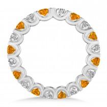 Diamond & Citrine Eternity Wedding Band 14k White Gold (2.10ct)