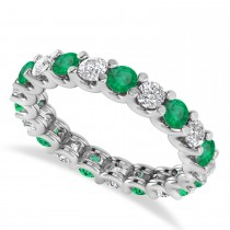 Diamond & Emerald Eternity Wedding Band 14k White Gold (2.10ct)