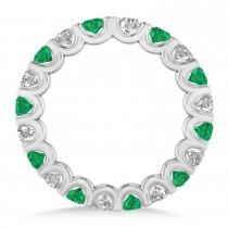 Diamond & Emerald Eternity Wedding Band 14k White Gold (2.10ct)