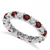 Diamond & Garnet Eternity Wedding Band 14k White Gold (2.10ct)