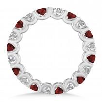 Diamond & Garnet Eternity Wedding Band 14k White Gold (2.10ct)