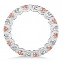 Diamond & Morganite Eternity Wedding Band 14k White Gold (2.10ct)