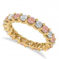 Diamond & Morganite Eternity Wedding Band 14k Yellow Gold (2.10ct)