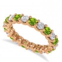 Diamond & Peridot Eternity Wedding Band 14k Rose Gold (2.10ct)