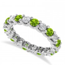 Diamond & Peridot Eternity Wedding Band 14k White Gold (2.10ct)