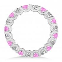 Diamond & Pink Sapphire Eternity Wedding Band 14k White Gold (2.10ct)