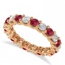 Diamond & Ruby Eternity Wedding Band 14k Rose Gold (2.10ct)
