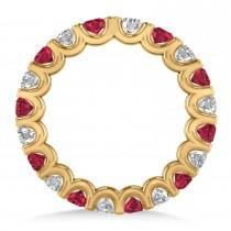 Diamond & Ruby Eternity Wedding Band 14k Yellow Gold (2.10ct)
