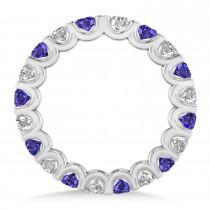 Diamond & Tanzanite Eternity Wedding Band 14k White Gold (2.10ct)